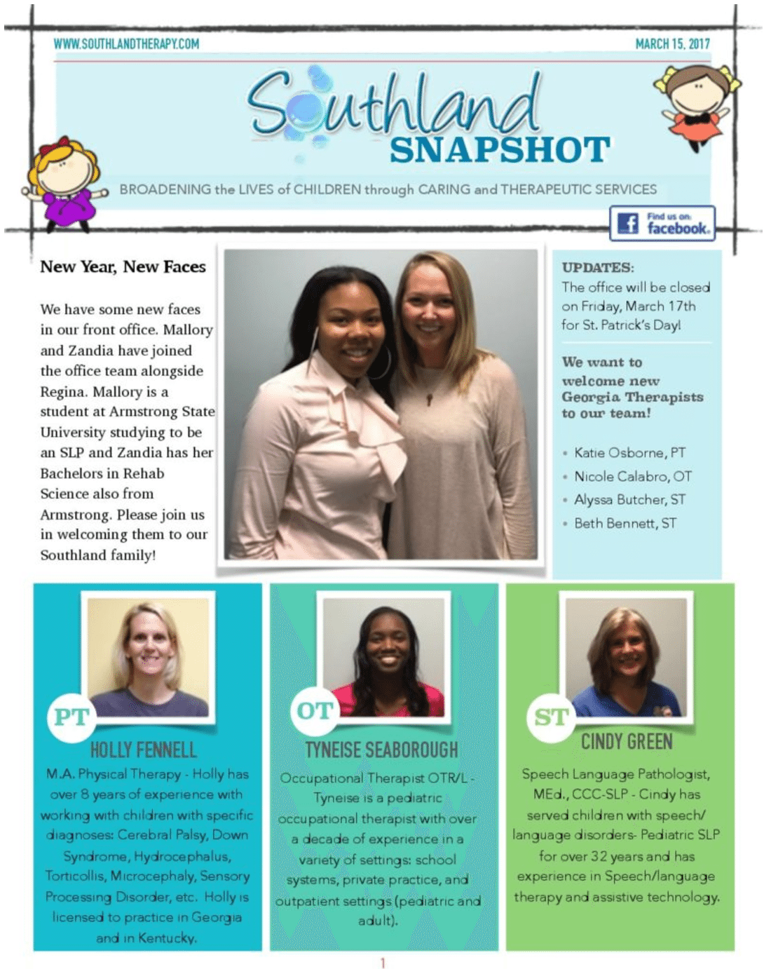 Page 1 of March Snapshot