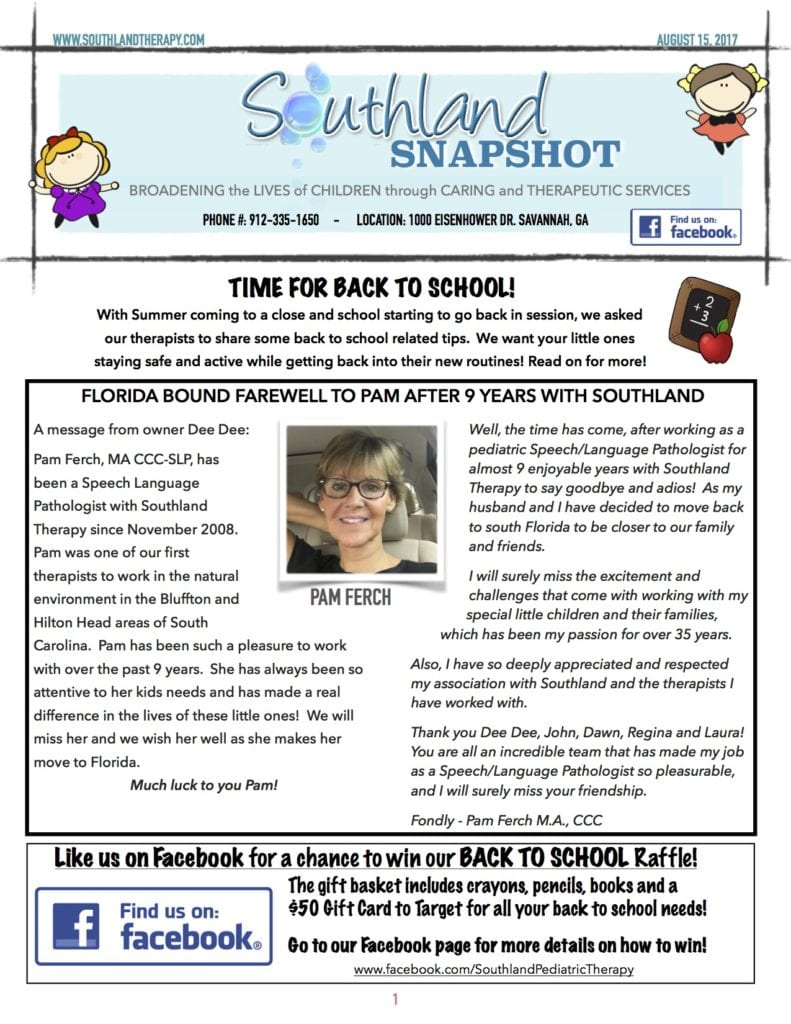 Page 1 of August Snapshot