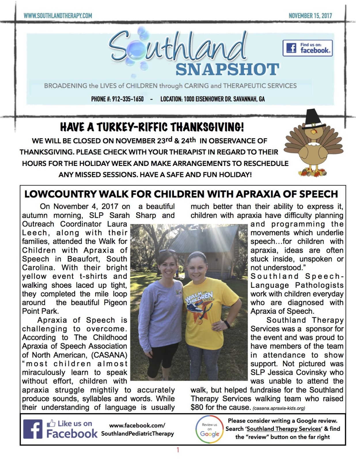 Thanksgiving Edition Of The Southland Newsletter