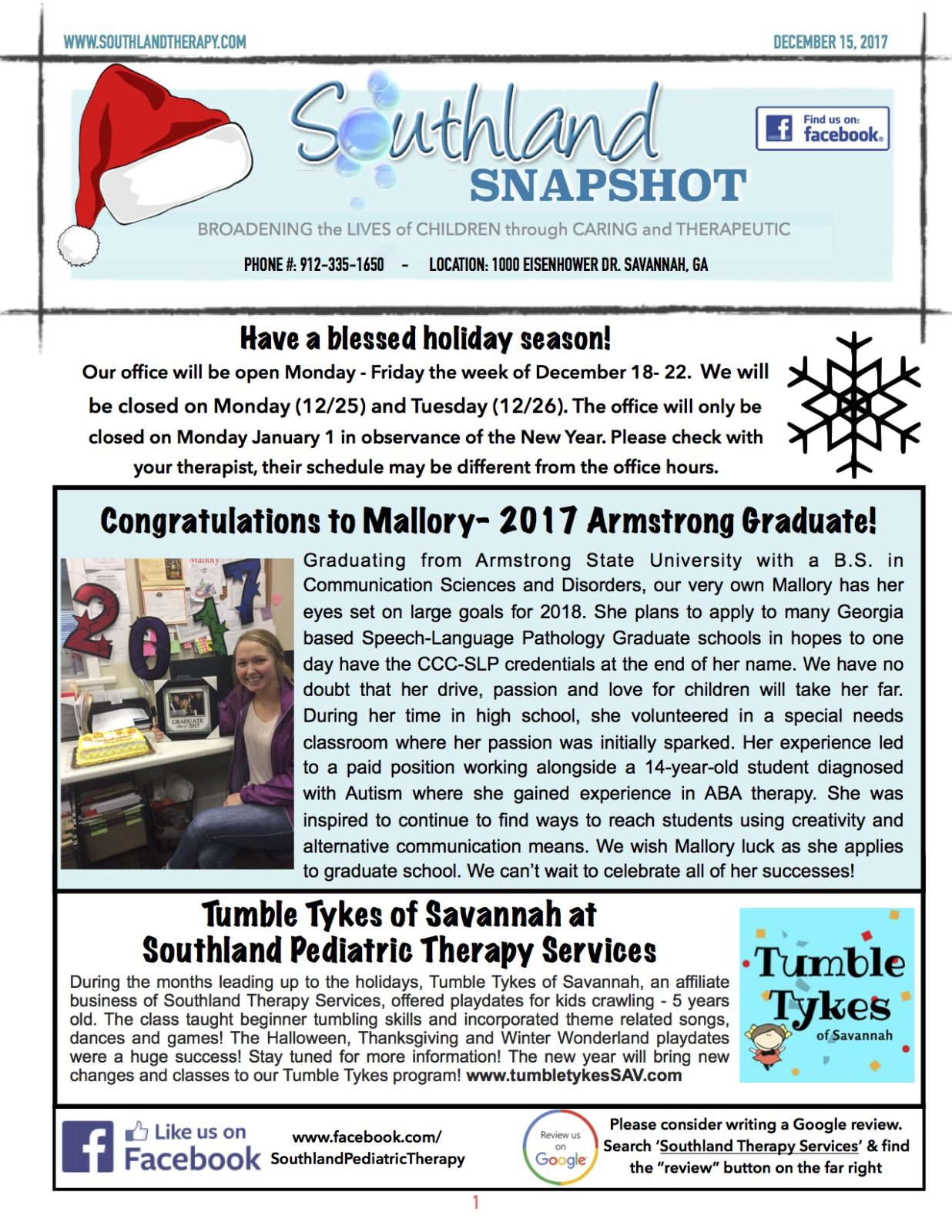 December Newsletter- Happy Holidays! - Southland Therapy